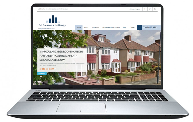 Free Website Design Example 2 – All Seasons Lettings London