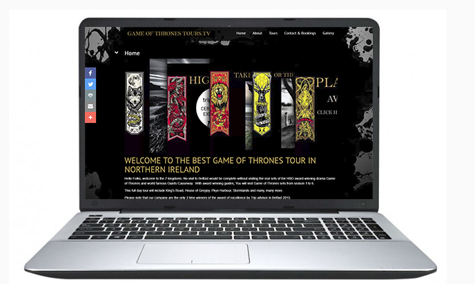 Free Website Design Offer Example - Game of Thrones Tours