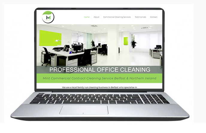 Mint Cleaning Website Design Example